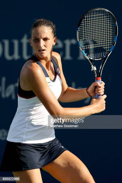 Karolina Pliskova of Czech Republic plays Caroline Wozniacki of Denmark during day 7 of the Western Southern Open at the Lindner Family Tennis Center...