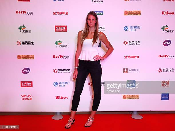Karolina Pliskova of Czech Republic poses for a picture at DongFeng Motor Wuhan Open Player Party at Wanda Realm Hotel on September 24 2016 in Wuhan...