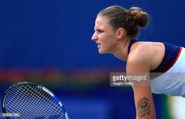Karolina Pliskova of Czech Republic prepares to receive a serve from Anastasia Pavlyuchenkova of Russia during Day 5 of the Rogers Cup at Aviva...