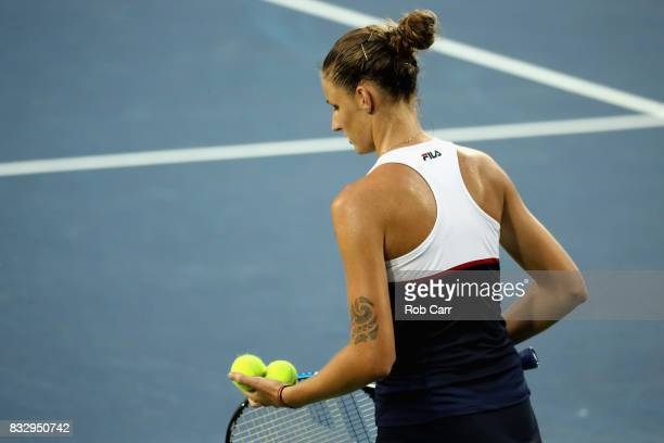 Karolina Pliskova of Czech Republic prepares to serve to Natalia Vikhlyantseva of Russia during Day 5 of the Western Southern Open at the Linder...