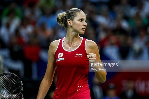 Karolina Pliskova of Czech Republic reacts against Anastasia Pavlyuchenkova of Russia during day two of the Fed Cup final match between Czech...