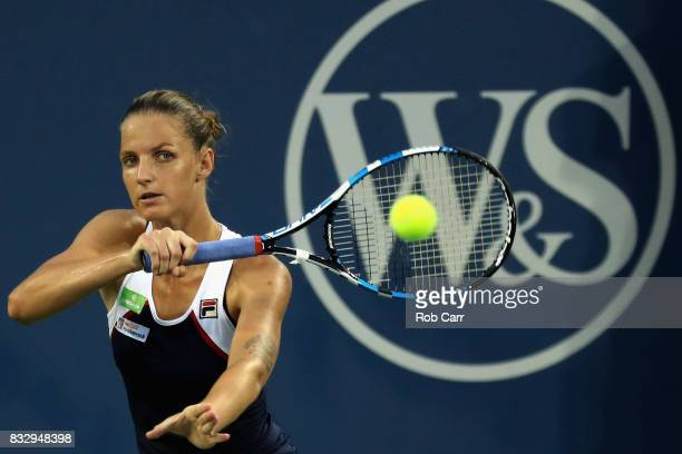 Karolina Pliskova of Czech Republic returns a shot to Natalia Vikhlyantseva of Russia during Day 5 of the Western Southern Open at the Linder Family...