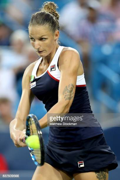 Karolina Pliskova of Czech Republic returns a shot to Natalia Vikhlyantsevaof Russia during day 5 of the Western Southern Open at the Lindner Family...