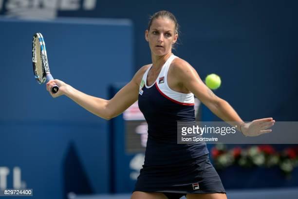 Karolina Pliskova of Czech Republic returns the ball during her third round match of the 2017 Rogers Cup tennis tournament on August 9 at Aviva...