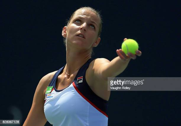 Karolina Pliskova of Czech Republic serves against Anastasia Pavlyuchenkova of Russia during Day 5 of the Rogers Cup at Aviva Centre on August 9 2017...