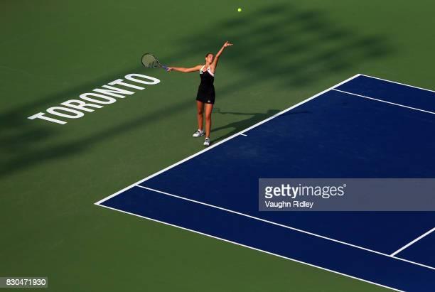 Karolina Pliskova of Czech Republic serves against Caroline Wozniacki of Denmark during Day 7 of the Rogers Cup at Aviva Centre on August 11 2017 in...