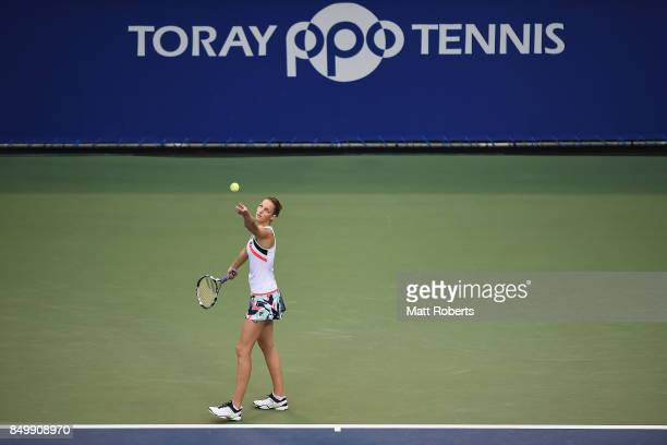 Karolina Pliskova of Czech Republic serves against Magda Linette of Poland during day three of the Toray Pan Pacific Open Tennis At Ariake Coliseum...