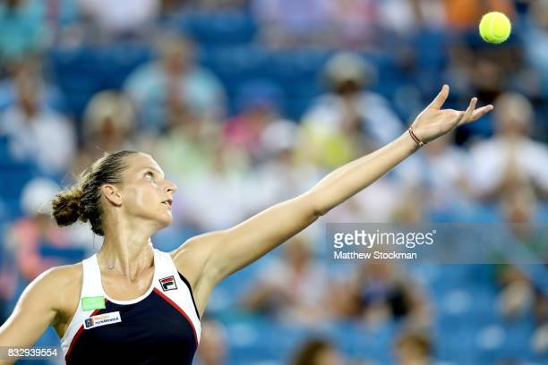 Karolina Pliskova of Czech Republic serves to Natalia Vikhlyantsevaof Russia during day 5 of the Western Southern Open at the Lindner Family Tennis...
