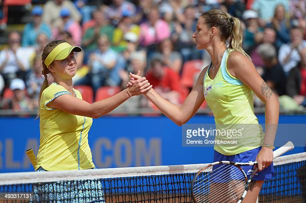 Karolina Pliskova of Czech Republic shakes hands after winning her match against Elina Svitolina of Ukraine during Day 7 of the Nuernberger...