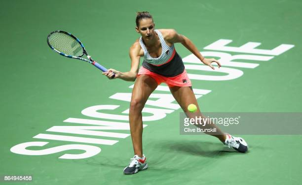 Karolina Pliskova of Czech Republic stretches for a forehand in her singles match against Venus Williams of the United States during day 1 of the BNP...