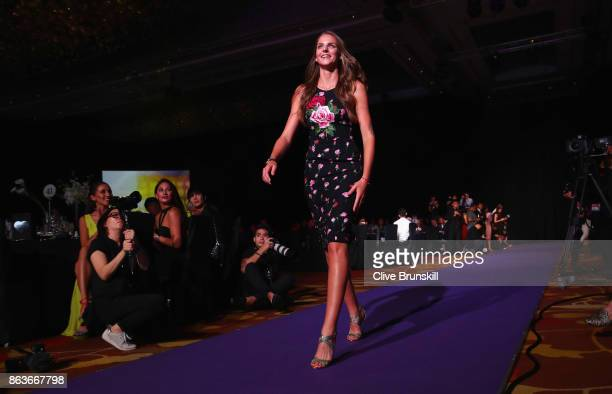 Karolina Pliskova of Czech Republic walks in to the Official Draw Ceremony and Gala of the BNP Paribas WTA Finals Singapore presented by SC Global at...
