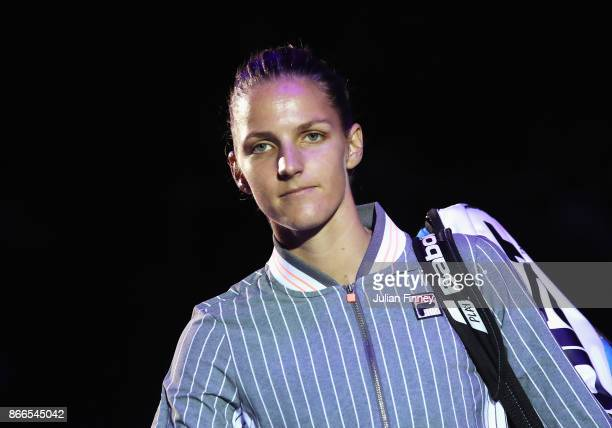 Karolina Pliskova of Czech Republic walks out for her singles match against Jelena Ostapenko of Latvia during day 5 of the BNP Paribas WTA Finals...