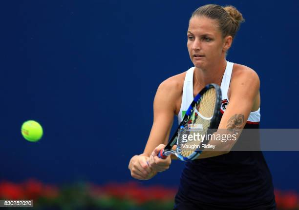 Karolina Pliskova of Czech Republic warms up prior to her match against Caroline Wozniacki of Denmark during Day 7 of the Rogers Cup at Aviva Centre...