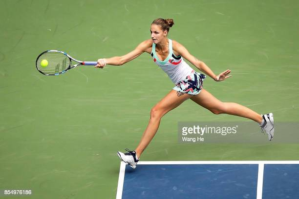 Karolina Pliskova of Czech returns a shot during the match against Ashleigh Barty of Australia on Day 5 of 2017 Dongfeng Motor Wuhan Open at Optics...