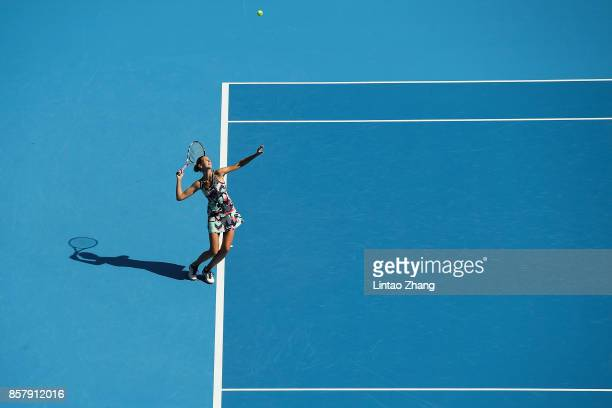 Karolina Pliskova of the Czech Repubic returns a shot against Sorana Cirstea of Romania during the Women's singles 3rd round on day six of 2017 China...