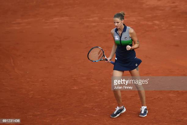 Karolina Pliskova of the Czech Republic celebrates victory during the ladies singles second round match against Ekaterina Alexandrova of Russia on...