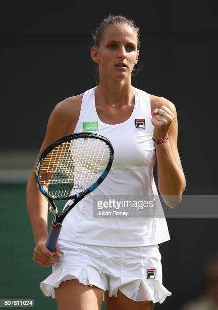 Karolina Pliskova of the Czech Republic celebrates victory during the Ladies Singles first round match against Evgeniya Rodina of Russia on day two...