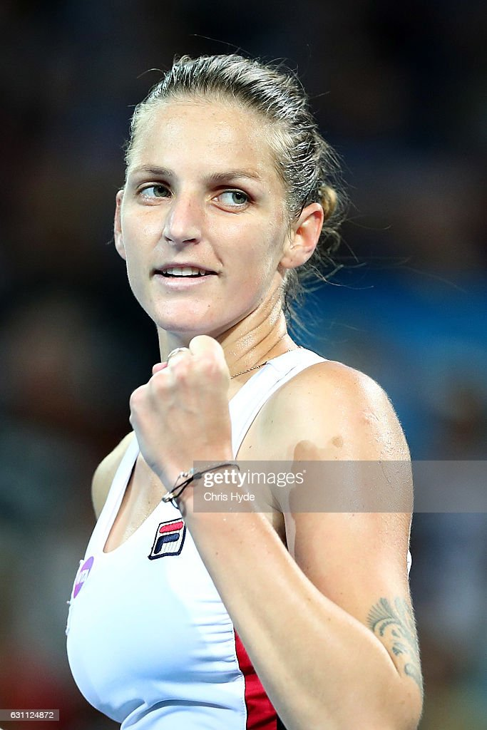 Karolina Pliskova of the Czech Republic celebrates winning against Alize Cornet of France in the Women's Final on day seven of the 2017 Brisbane International at Pat Rafter Arena on January 7, 2017 in Brisbane, Australia.