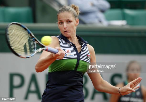 Karolina Pliskova of the Czech Republic hits a forehand to Veronica Cepede Royg of Paraguay in the fourth round of the French Open in Paris on June 5...