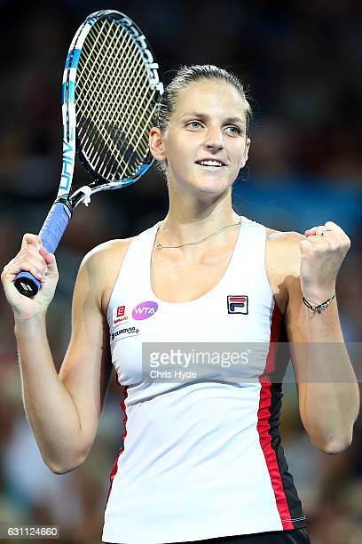 Karolina Pliskova of the Czech Republic holds the winning against Alize Cornet of France in the Women's Final on day seven of the 2017 Brisbane...