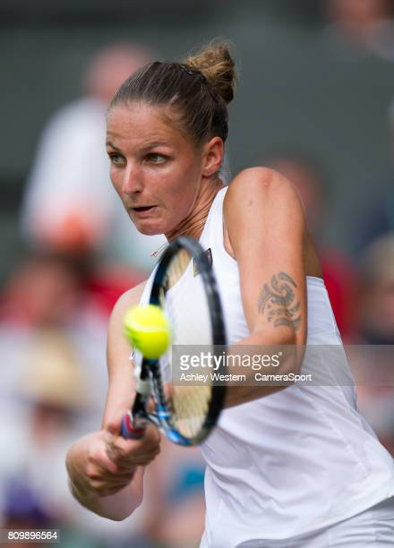 Karolina Pliskova of The Czech Republic in action during her defeat by Magdalena Rybarikova of Slovakia in their Ladies' Singles Second Round Match...