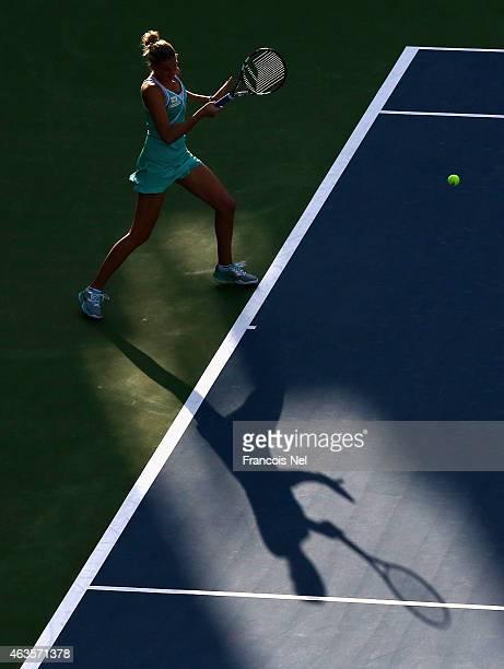 Karolina Pliskova of the Czech Republic in action in her match against Anastasia Pavlyuchenkova of Russia during day two of the WTA Dubai Duty Free...