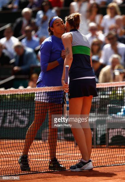 Karolina Pliskova of The Czech Republic is congratulated on victory by her opponant Caroline Garcia of France following the ladies singles quarter...