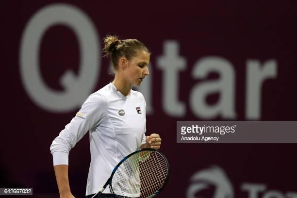 Karolina Pliskova of the Czech Republic is in action against Denmark's Caroline Wozniacki of the Czech Republic during their final tennis match...