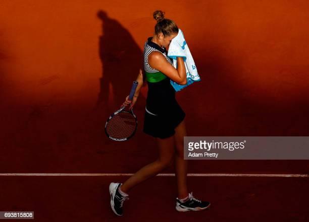 Karolina Pliskova of The Czech Republic looks dejected during ladies singles semifinal match against Simona Halep of Romania on day twelve of the...