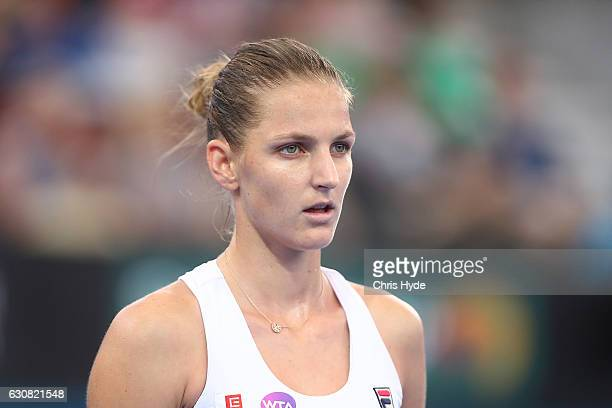 Karolina Pliskova of The Czech Republic looks on during her match against Asia Muhammad of the United States on day three of the 2017 Brisbane...