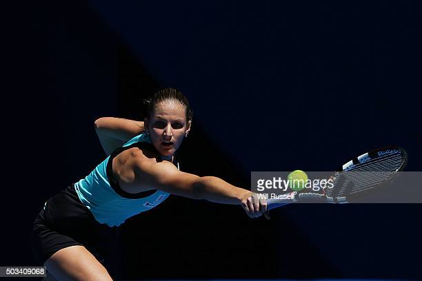 Karolina Pliskova of the Czech Republic plays a backhand in the women's single match against Elina Svitolina of the Ukraine during day three of the...