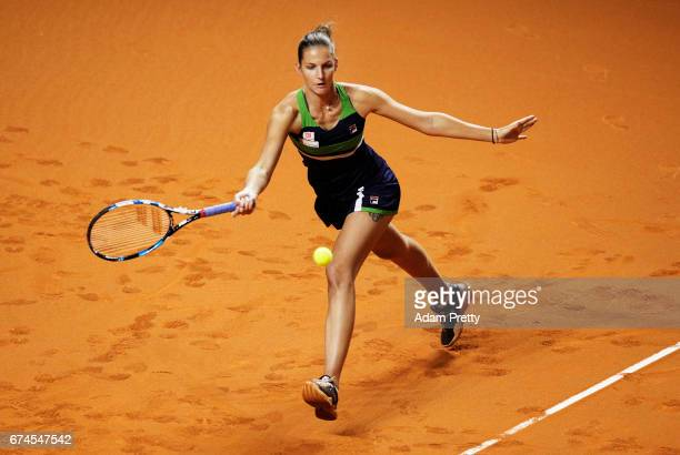 Karolina Pliskova of the Czech Republic plays a forehand during her match against Laura Siegemund of Germany during the Porsche Tennis Grand Prix at...