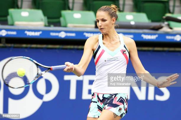 Karolina Pliskova of the Czech Republic plays a forehand in her match against Magda Linette of Poland during day three of the Toray Pan Pacific Open...