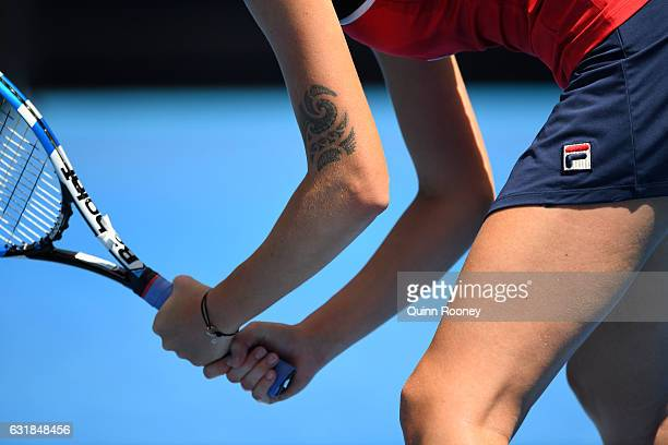 Karolina Pliskova of the Czech Republic prepares to return serve in her first round match against Sara Sorribes Tormo of Spain on day two of the 2017...