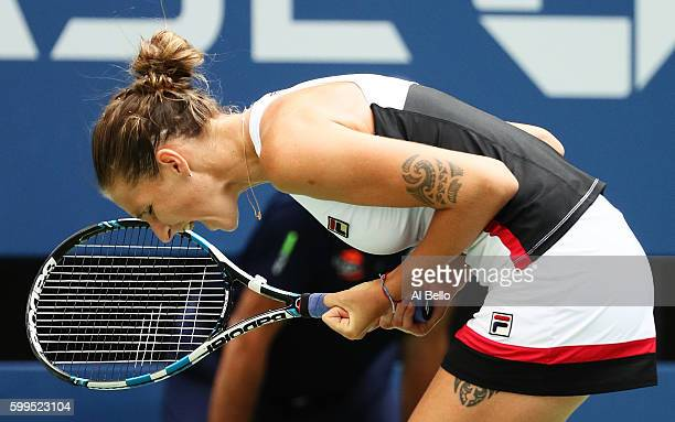 Karolina Pliskova of the Czech Republic reacts after her win over Venus Williams of the United States during her fourth round Women's Singles match...