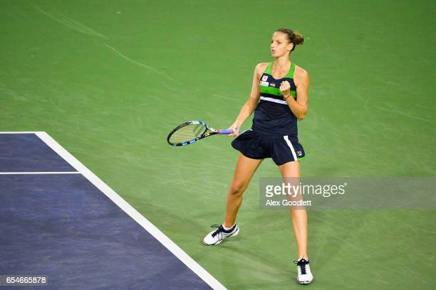 Karolina Pliskova of the Czech Republic reacts to a shot against Svetlana Kuznetsova of Russia in the women's semifinal on day 12 during the BNP...