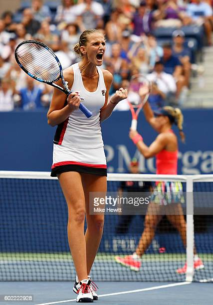 Karolina Pliskova of the Czech Republic reacts while playing against Angelique Kerber of Germany during their Women's Singles Final Match on Day...