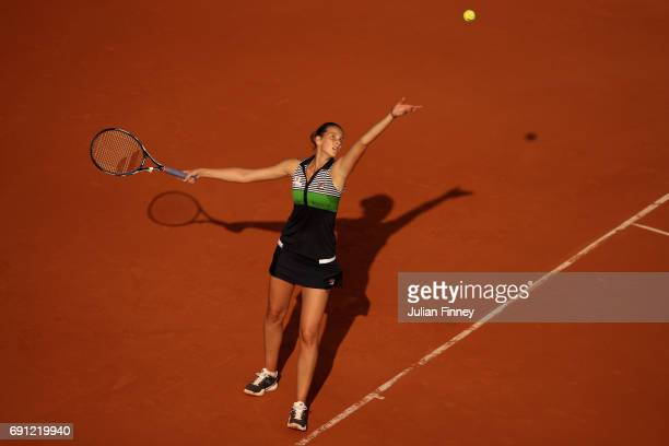 Karolina Pliskova of the Czech Republic serves during the ladies singles second round match against Ekaterina Alexandrova of Russia on day five of...