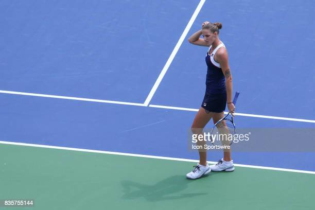 Karolina Pliskova reacts during the Western Southern Open at the Lindner Family Tennis Center in Mason Ohio on August 18th 2017