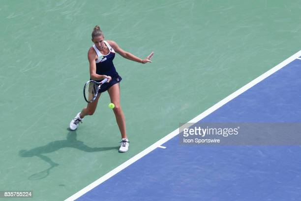 Karolina Pliskova serves during the Western Southern Open at the Lindner Family Tennis Center in Mason Ohio on August 18th 2017