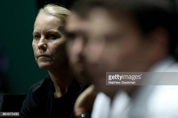 Karolina Pliskova's coach Rennae Stubbs of Australia watches in her singles match against Venus Williams of the United States during day 1 of the BNP...
