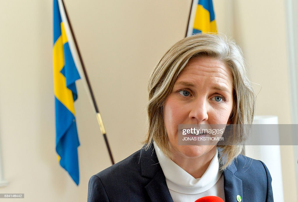 Karolina Skog, Sweden's new environment Minister speaks at a press conference after a government reshuffle on May 25, 2016 in Stockholm. News Agency / Jonas EKSTROMER / Sweden OUT