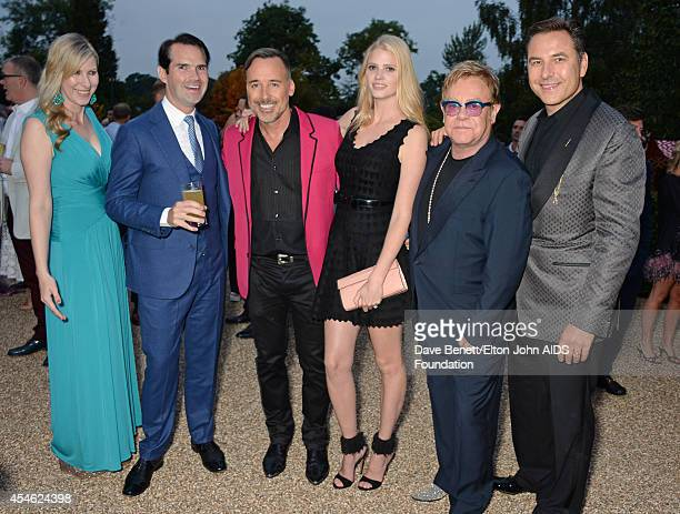 APPLIES Karoline Copping Jimmy Carr David Furnish Lara Stone Sir Elton John and David Walliams attend the Woodside End of Summer party to benefit the...