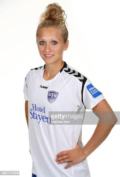 Karoline Heinze of FF USV Jena poses during the Allianz Frauen Bundesliga Club Tour at Ernst Abbe Sportfeld on August 11 2017 in Jena Germany