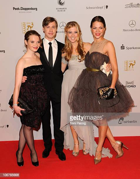 Karoline Herfurt David Kross Nina Eichinger and Jessica Schwarz arrive for the Bambi 2010 Award at Filmpark Babelsberg on November 11 2010 in Potsdam...