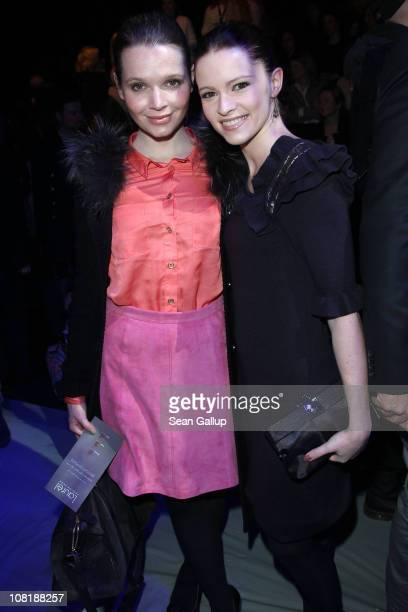 Karoline Herfurth and Jennifer Ulrich attend the Laurel Show during the Mercedes Benz Fashion Week Autumn/Winter 2011 at Bebelplatz on January 20...