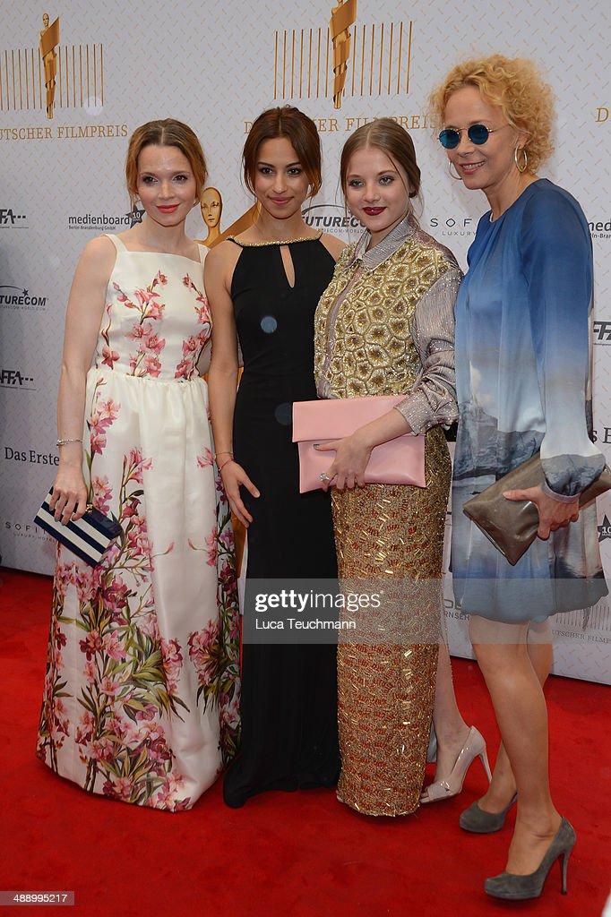 Karoline Herfurth, Gizem Emre, Jella Haase and Katja Riemann attend the Lola - German Film Award 2014 at Tempodrom on May 9, 2014 in Berlin, Germany