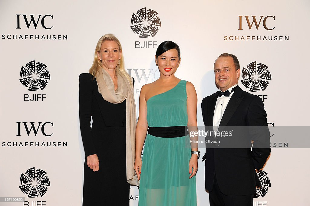 Karoline Huber, IWC Director of Marketing & Communications (L), actress Yu Nan (C) and Benoit De Clerck, IWC Managing Director Asia Pacific (R) attend the exclusive 'For the Love of Cinema' event hosted by Swiss watch manufacturer IWC Schaffhausen in the role as new sponsor of the Beijing International Film Festival, at the Ming Dynasty City Wall on April 22, 2013 in Beijing, China.