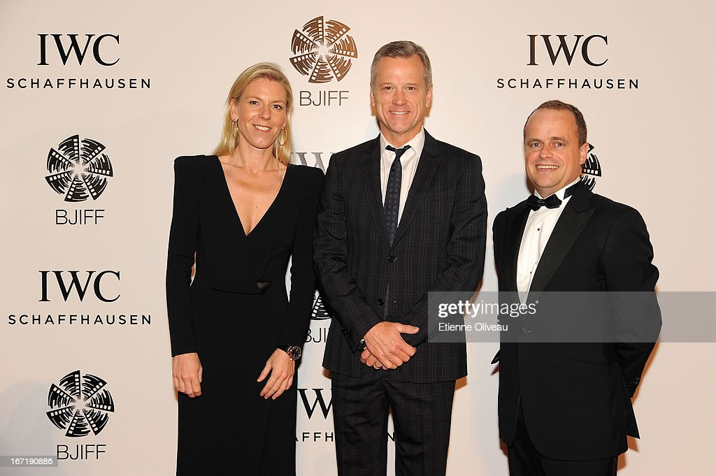 Karoline Huber, IWC Director of Marketing & Communications (L), Paul Hanneman, Co-president, Twentieth Century Fox International 20 (C) and Benoit De Clerck, IWC Managing Director Asia Pacific (R) attend the exclusive 'For the Love of Cinema' event hosted by Swiss watch manufacturer IWC Schaffhausen in the role as new sponsor of the Beijing International Film Festival, at the Ming Dynasty City Wall on April 22, 2013 in Beijing, China.