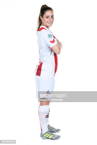 Karoline Kohr of 1 FC Koeln poses during the Allianz Frauen Bundesliga Club Tour at on August 16 2017 in Cologne Germany